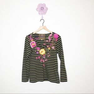 Johnny Was Green / Black Stripe Embroidered Top